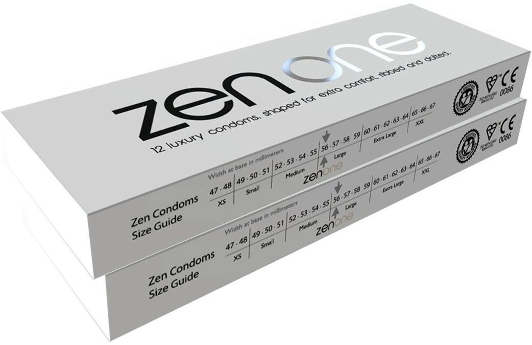 Zen One Condoms – 24 Luxury Large Ribbed and Dotted Condoms with extra lubrication